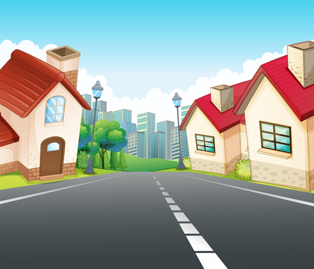 outside the house: Neighborhood scene with many houses along the road illustration