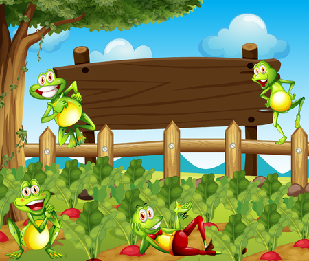 garden landscape: Frogs and wooden sign in the farm illustration
