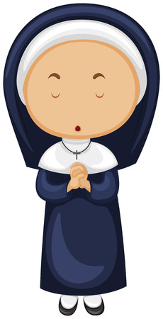 outfit: Nun in blue outfit illustration Illustration
