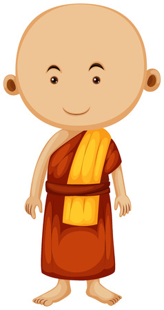 buddhist monk: Buddhist monk with happy face illustration Illustration