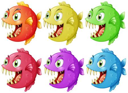 Six fish with sharp teeth illustration Illustration
