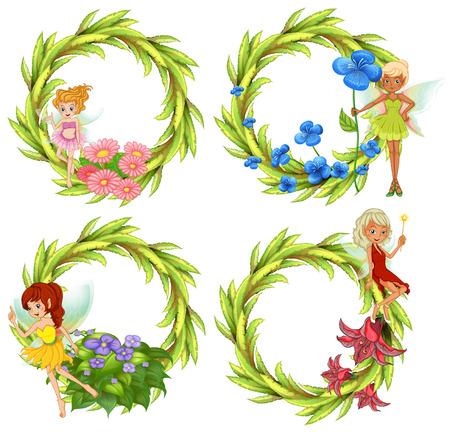 Fairies: Template design wtih fairies and flowers illustration