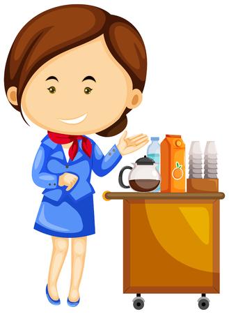 cabin attendant: Flight attendant and drinks trolley cart illustration Illustration
