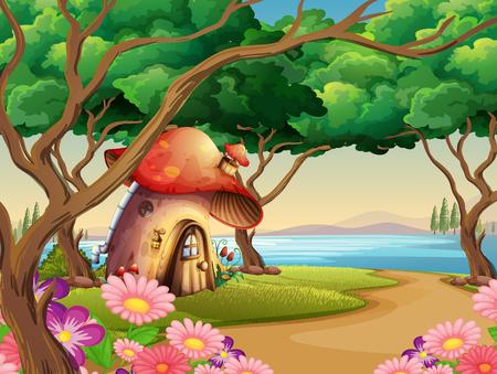 mushroom house: Mushroom house by the lake illustration Illustration