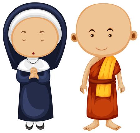 buddhist monk: Christian nun and buddhist monk illustration