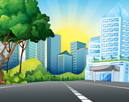 tall buildings: City scene with tall buildings illustration