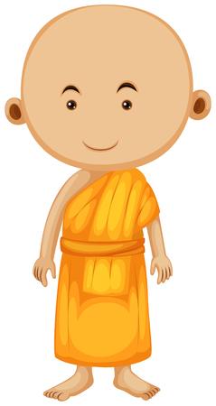 buddhist monk: Buddhist monk standing alone illustration