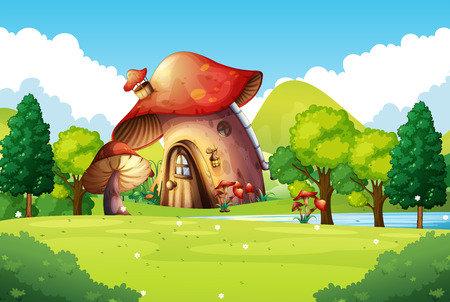 Mushroom house in the field illustration