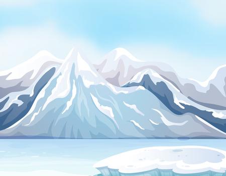 Szene mit Schnee auf große Berge und den Fluss Illustration Standard-Bild - 64620083