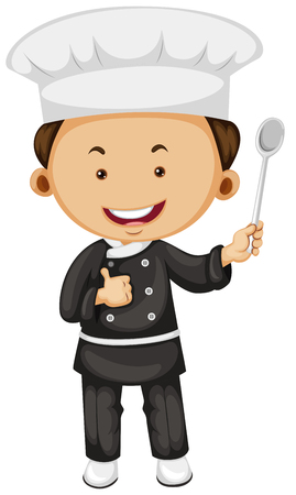 jobs people: Male chef holding spoon illustration