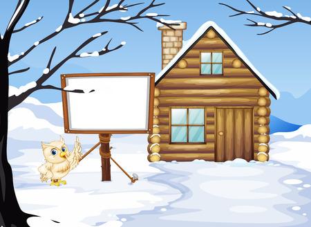 wooden hut: Wooden hut in the snow field illustration