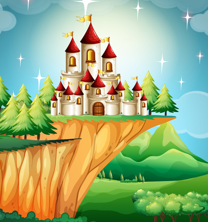 fantacy: Castle towers on the cliff illustration