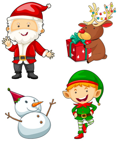 christmas characters: Christmas characters set on white background illustration Illustration