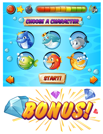 game fish: Game template with fish and shark characters illustration Illustration