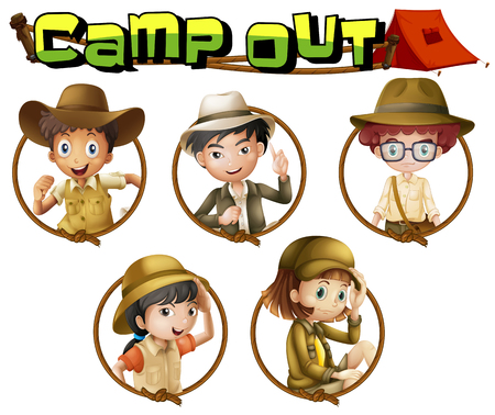 outfit: Kids in safari outfit on round badges illustration