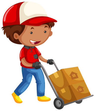 moving boxes: Man moving boxes on trolley cart illustration Illustration