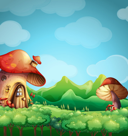 house illustration: Scene with mushroom house in the field illustration