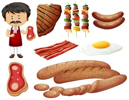 Butcher e prodotti a base di carne illustrazione Vettoriali