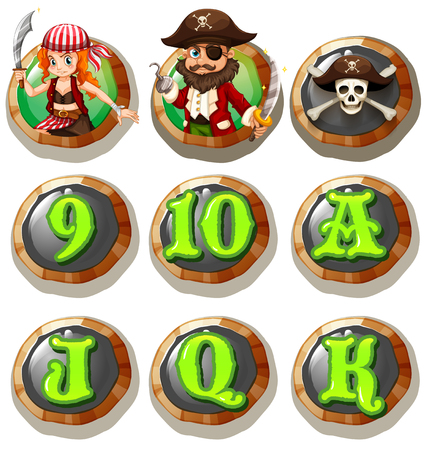 k 9: Game characters and numbers on token illustration