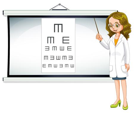 eye doctor: Eye doctor and reading chart illustration