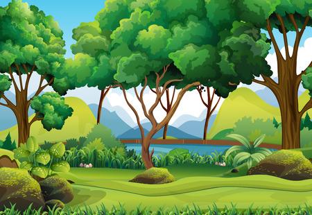 Forest scene with river and trees illustration Ilustração Vetorial