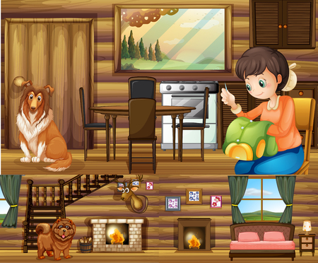 animal shelter: Girl and dogs in different rooms in the house illustration