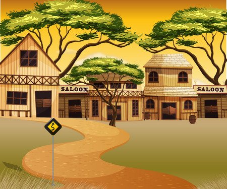 western town: Western town with buildings and road illustration