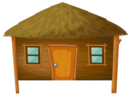 lifestyle home: Bungalow made of woods illustration