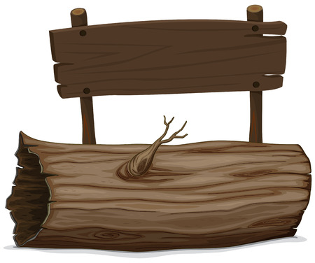 log: Wooden log and sign illustration