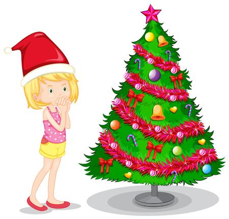 christmas tree illustration: Girl and christmas tree illustration Illustration