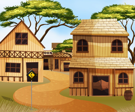 western town: Western town with wooden buildings illustration Illustration