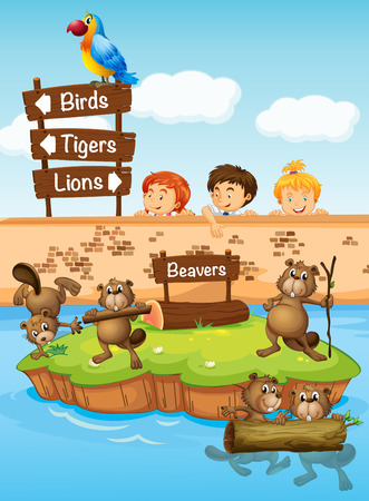 beavers: Children looking at beavers in the zoo illustration