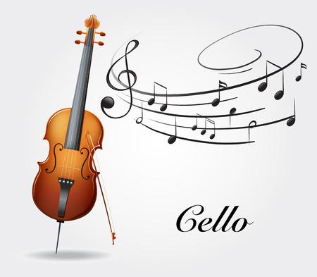チェロと音楽ノート イラスト