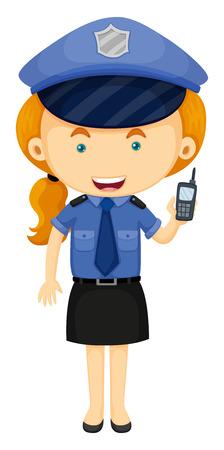 mujer policia: Mujer policía en la ilustración uniforme azul Vectores