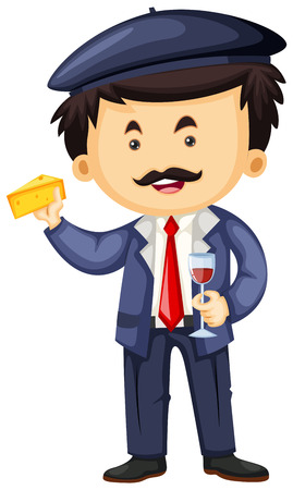 frenchman: Frenchman with cheese and wine illustration