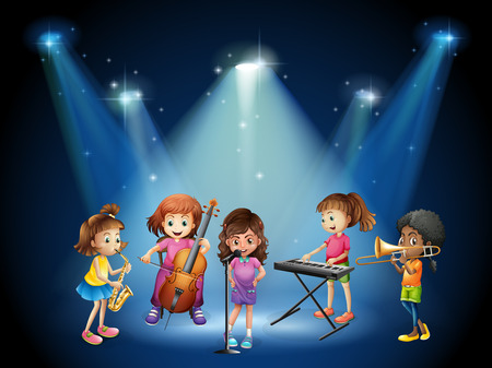 cellos: Children playing music in concert illustration