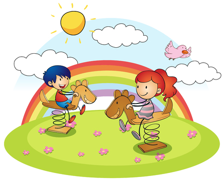 Boy and girl on rocking horse illustration