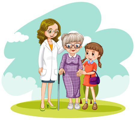 Doctor and two patients in the field illustration