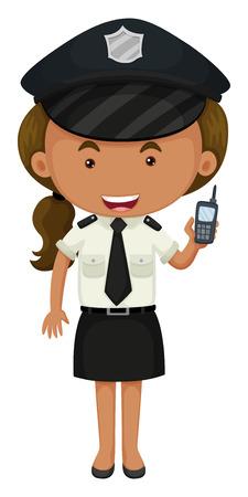 femme policier: Policière en noir et blanc illustration uniforme