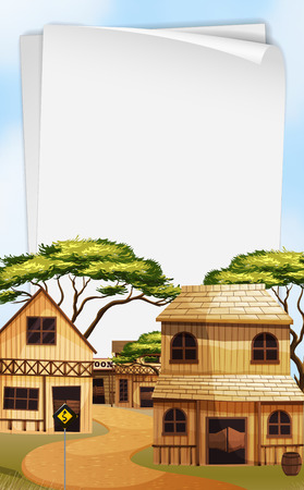 western town: Paper template with western town background illustration