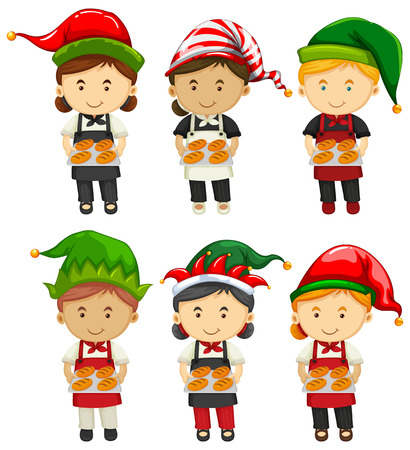 christmas baker's: Bakers wearing party hat illustration