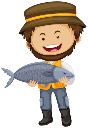 big fish: Fisherman holding big fish in hands illustration Illustration