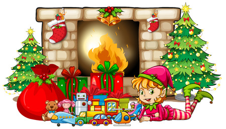 Christmas theme with elf and toys by fireplace illustration