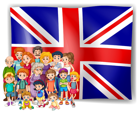 uk: England flag and their people illustration