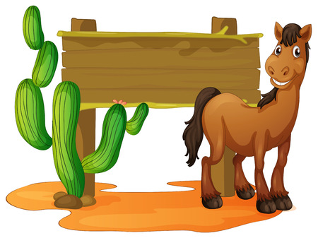 Wooden sign and wild horse in desert illustration