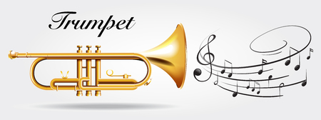 woodwind: Trumpet and music notes illustration