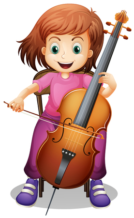 Girl playing cello on the chair illustration Ilustração