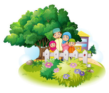 Muslim family in the garden illustration