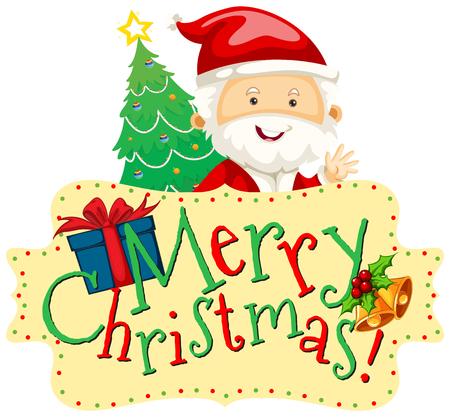 christmas tree illustration: Christmas theme with Santa and christmas tree illustration
