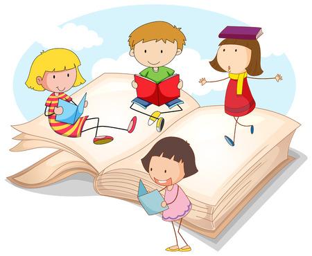niños jugando en la escuela: Muchos niños que leen libros de ilustración